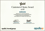 Gold Customers Choice Award 2016. Apollo Travel Group for Marilena Apartments